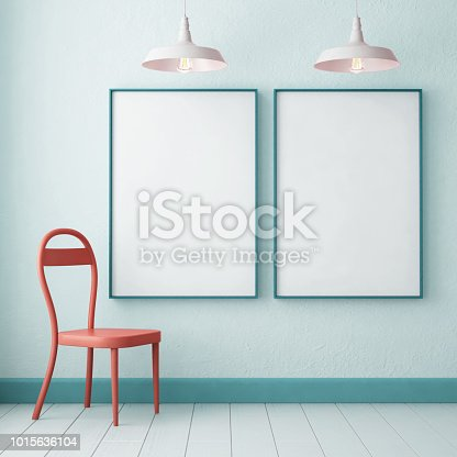 923497490 istock photo 3d illustration interior. Mockup in hipster style workspace. trend color. 1015636104