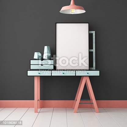 923497490 istock photo 3d illustration interior. Mockup in hipster style workspace. trend color. 1015636118