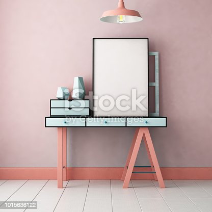 923497490 istock photo 3d illustration interior. Mockup in hipster style workspace. trend color. 1015636122