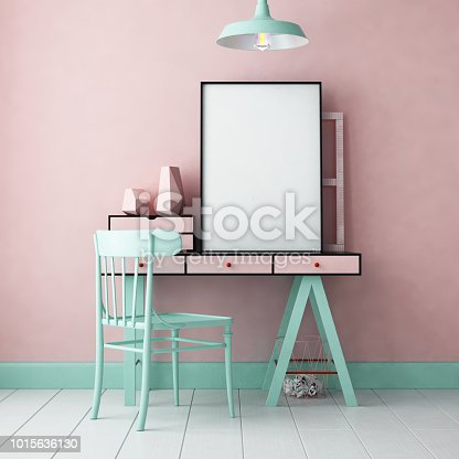 923497490 istock photo 3d illustration interior. Mockup in hipster style workspace. trend color. 1015636130