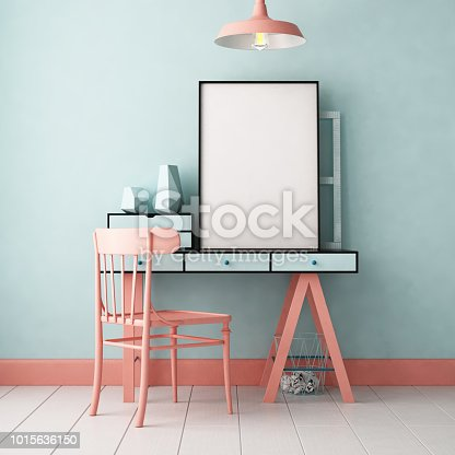 923497490 istock photo 3d illustration interior. Mockup in hipster style workspace. trend color. 1015636150