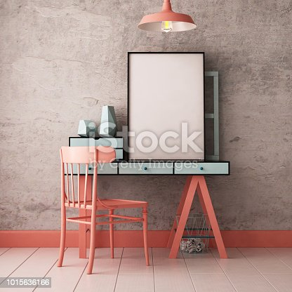 923497490 istock photo 3d illustration interior. Mockup in hipster style workspace. trend color. 1015636166