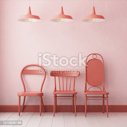 923497490 istock photo 3d illustration interior. Mockup in hipster style workspace. trend color. 1015636168
