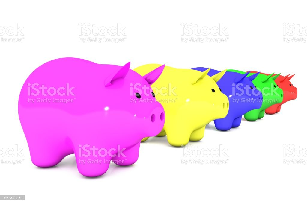 3d illustration: line of color piggy bank on a white isolated background. range from smallest to largest. five money box for coins in a row. pink, yellow, blue, green, red, rose. stock photo