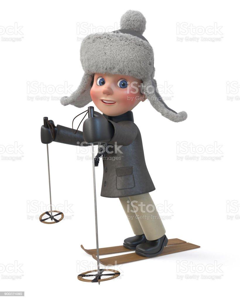 b8b91b43f 3d Abbildung Kleiner Junge Tragen Winterkleidung Stock-Fotografie ...