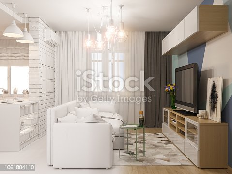 istock 3d illustration living room and kitchen interior design. Modern studio apartment in the Scandinavian minimalist style ambient occlusion 1061804110