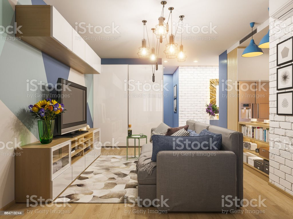 3d illustration living room and kitchen interior design. Modern studio apartment in the Scandinavian minimalist style stock photo