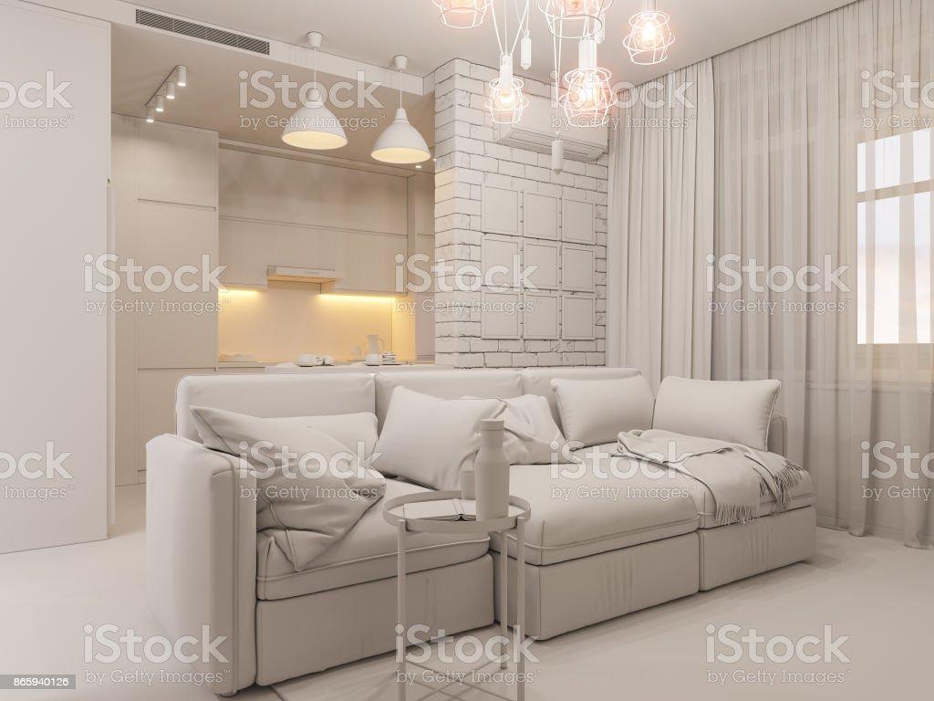 Sala De Estar De Ilustra O 3d E Design De Interiores De Cozinha