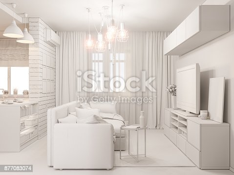 istock 3d illustration living room and kitchen interior design. Modern studio apartment in the Scandinavian minimalist style ambient occlusion 877083074