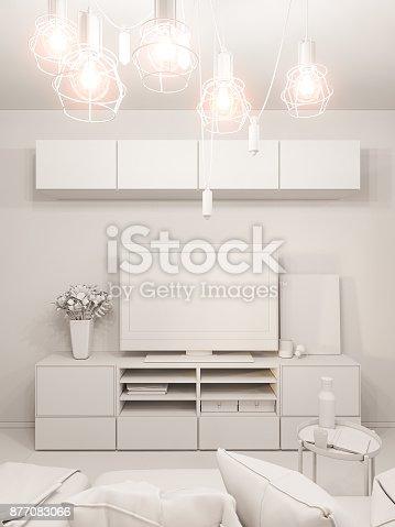 istock 3d illustration living room interior design. Modern studio apartment in the Scandinavian minimalist style ambient occlusion 877083066