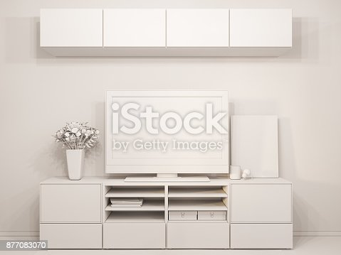 istock 3d illustration living room interior design. Modern studio apartment in the Scandinavian minimalist style ambient occlusion 877083070