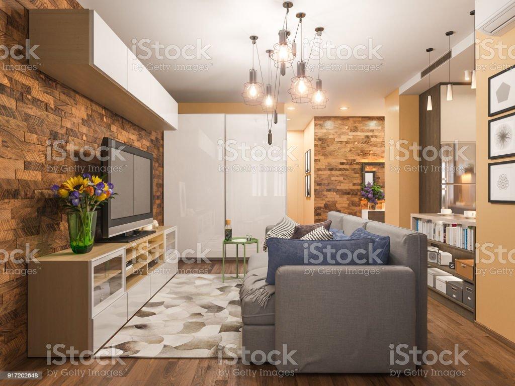 3d Illustration Living Room Interior Design Modern Studio