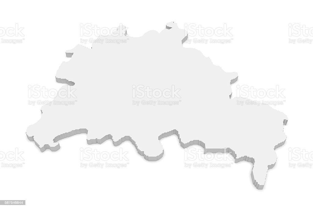 3d Illustration Map of Berlin, Germany, Isolated On White Background – Foto