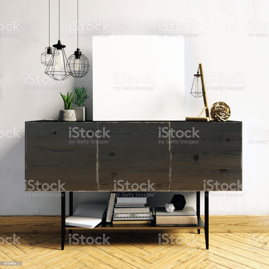 3d illustration, modern interior with credenza, poster and lamp. wall mock up stock photo