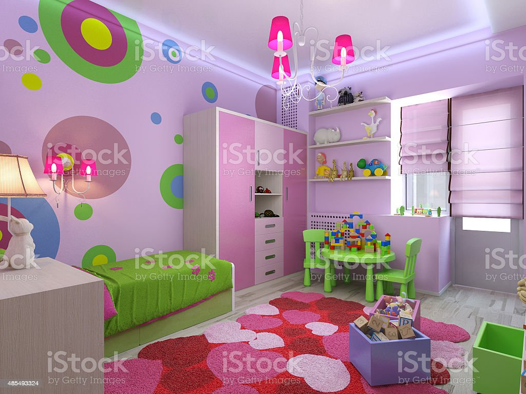 3d illustration nursery for girls in pink colors stock photo