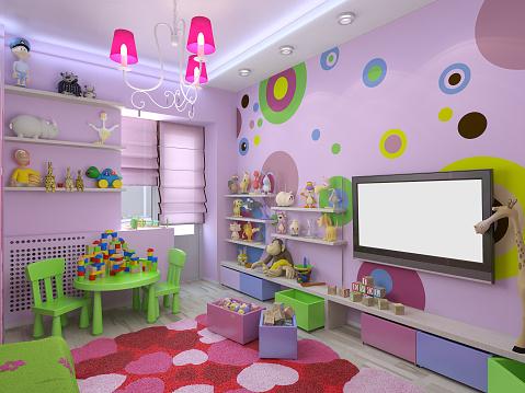 3 D Illustration Kinderzimmer Für Mädchen In Rosa Farben Stockfoto und mehr  Bilder von 2015