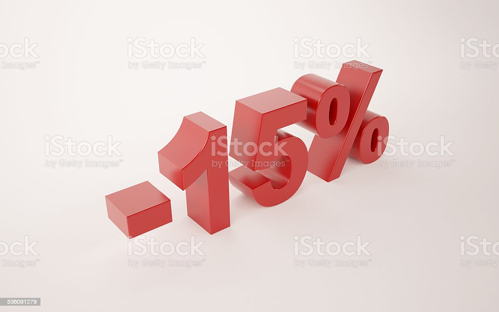 3d illustration of 15 percent discount sign over white background stock photo