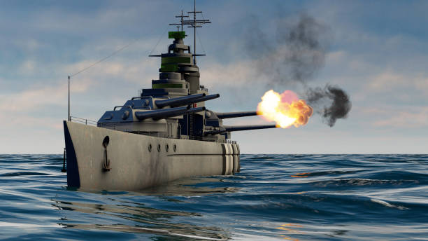 3d illustration of a battleship firing with heavy caliber guns 3d illustration of a battleship firing with heavy caliber guns military attack stock pictures, royalty-free photos & images