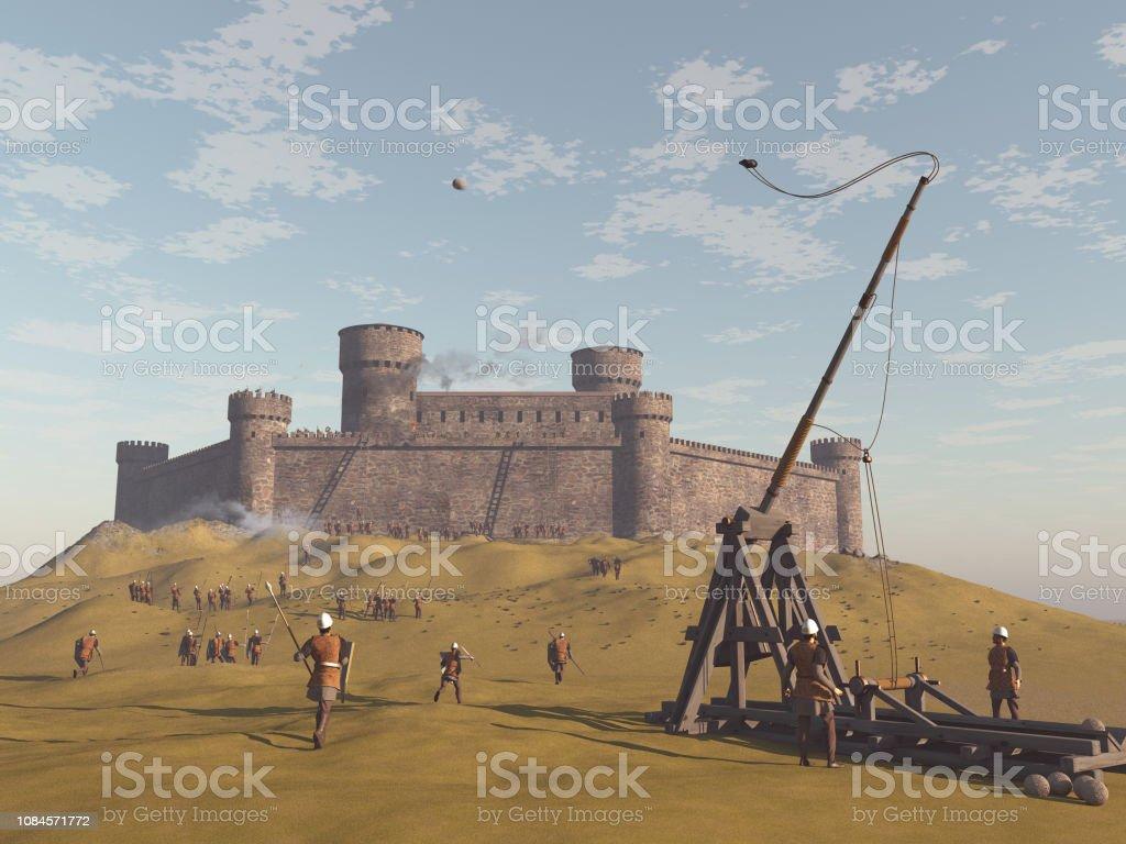3D Abbildung einer belagerten Burg – Foto