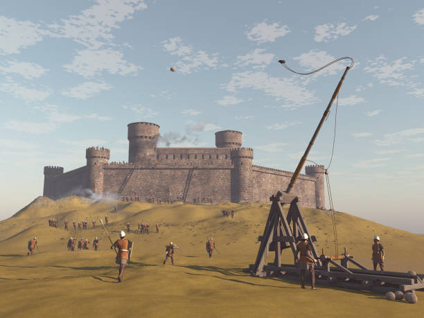 3d illustration of a besieged castle stock photo