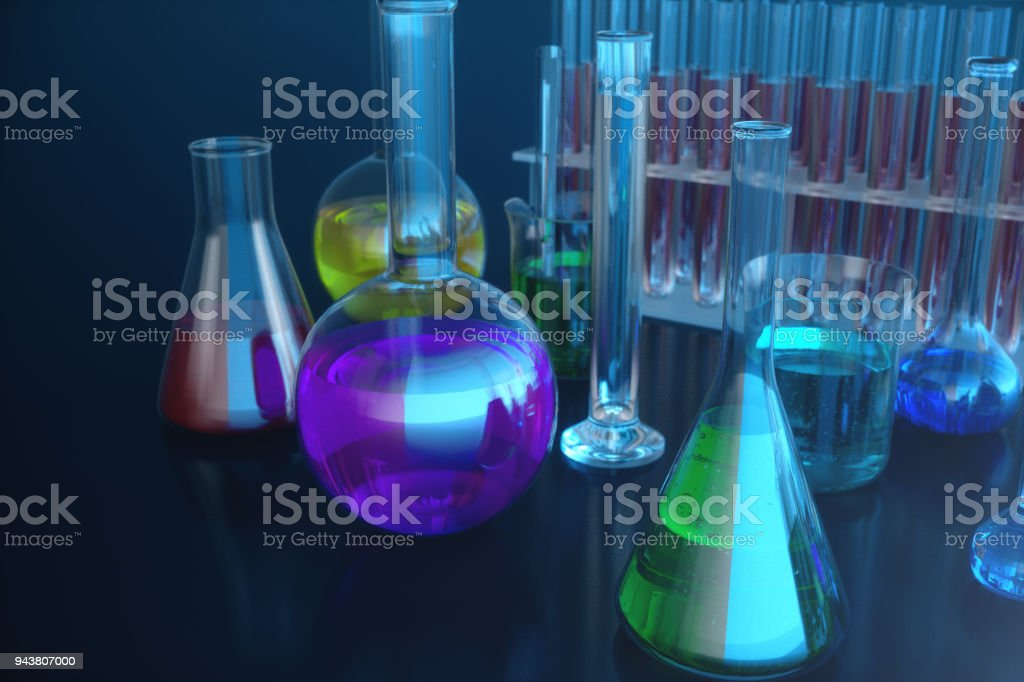 3d illustration of a chemical reaction, the concept of a scientific laboratory on a blue background. Flasks filled with colored liquids with different compositions stock photo