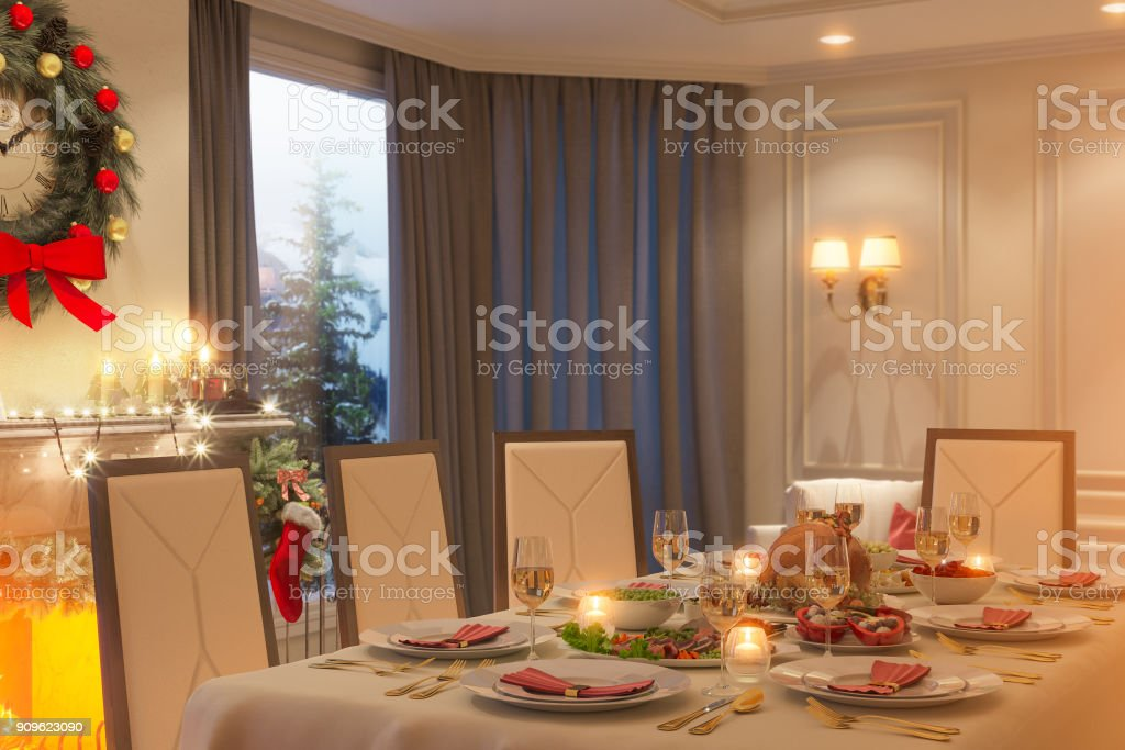 3d illustration of a Christmas family dinner table. An image for a postcard or a poster. stock photo
