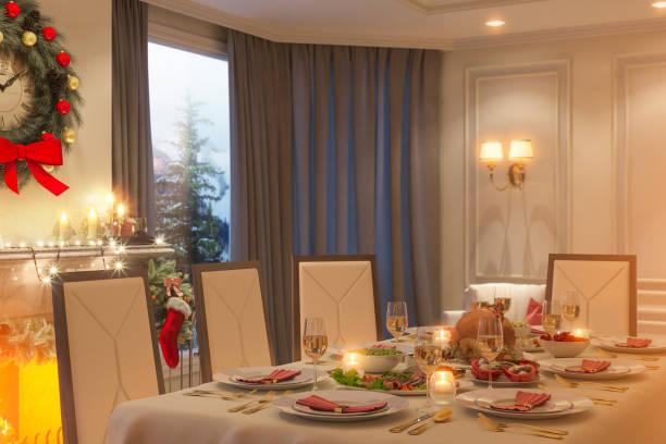 3d abbildung einer weihnachten abendessen familientabelle. ein bild für eine postkarte oder ein poster. - französisches haus dekor stock-fotos und bilder