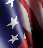 istock 3d illustration of a close-up of the American state flag moving wave-like in the wind 1071339000
