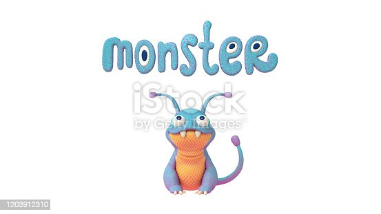 istock 3d illustration of a cute little cartoon blue monster with a yellow belly sitting on white background with big text monster overhead. 1203912310