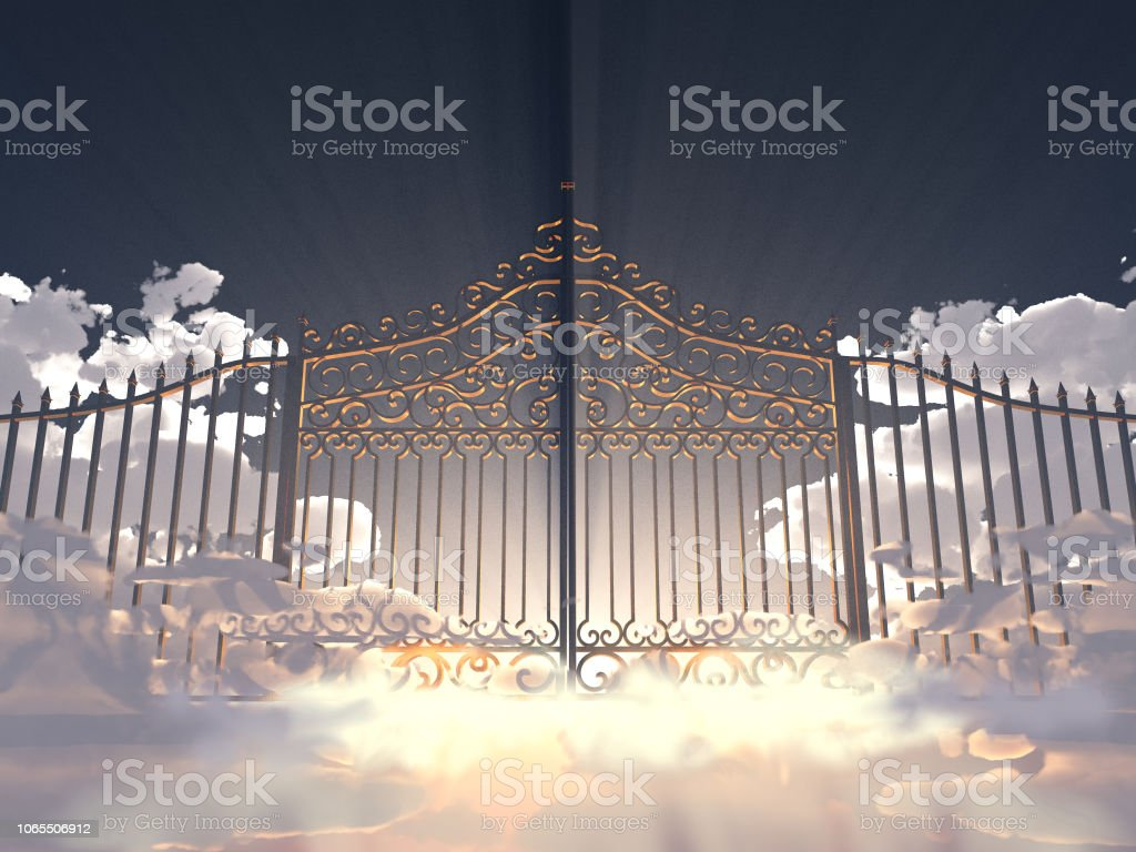 3D Abbildung eines Tores in den Himmel – Foto