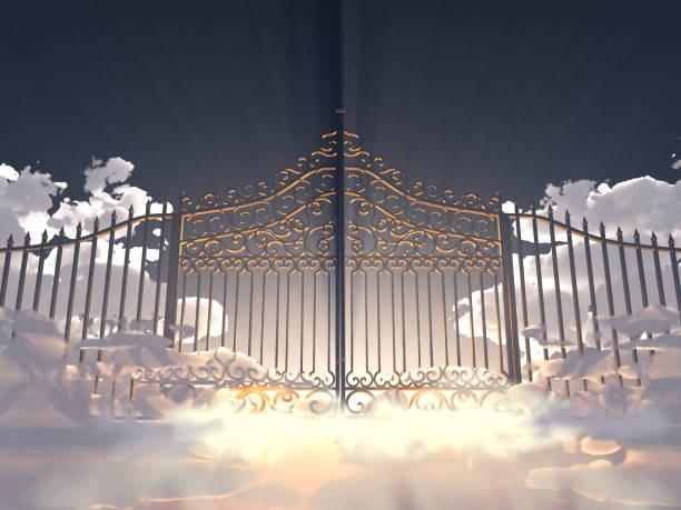 3d abbildung eines tores in den himmel - paradies stock-fotos und bilder