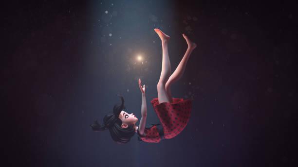 3d illustratie van een meisje in een retro jurk vallen in diepe ruimte met sterren - sleeping illustration stockfoto's en -beelden