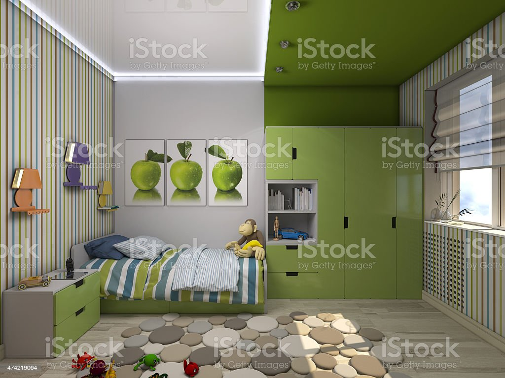 3d illustration of a green nursery for a boy stock photo
