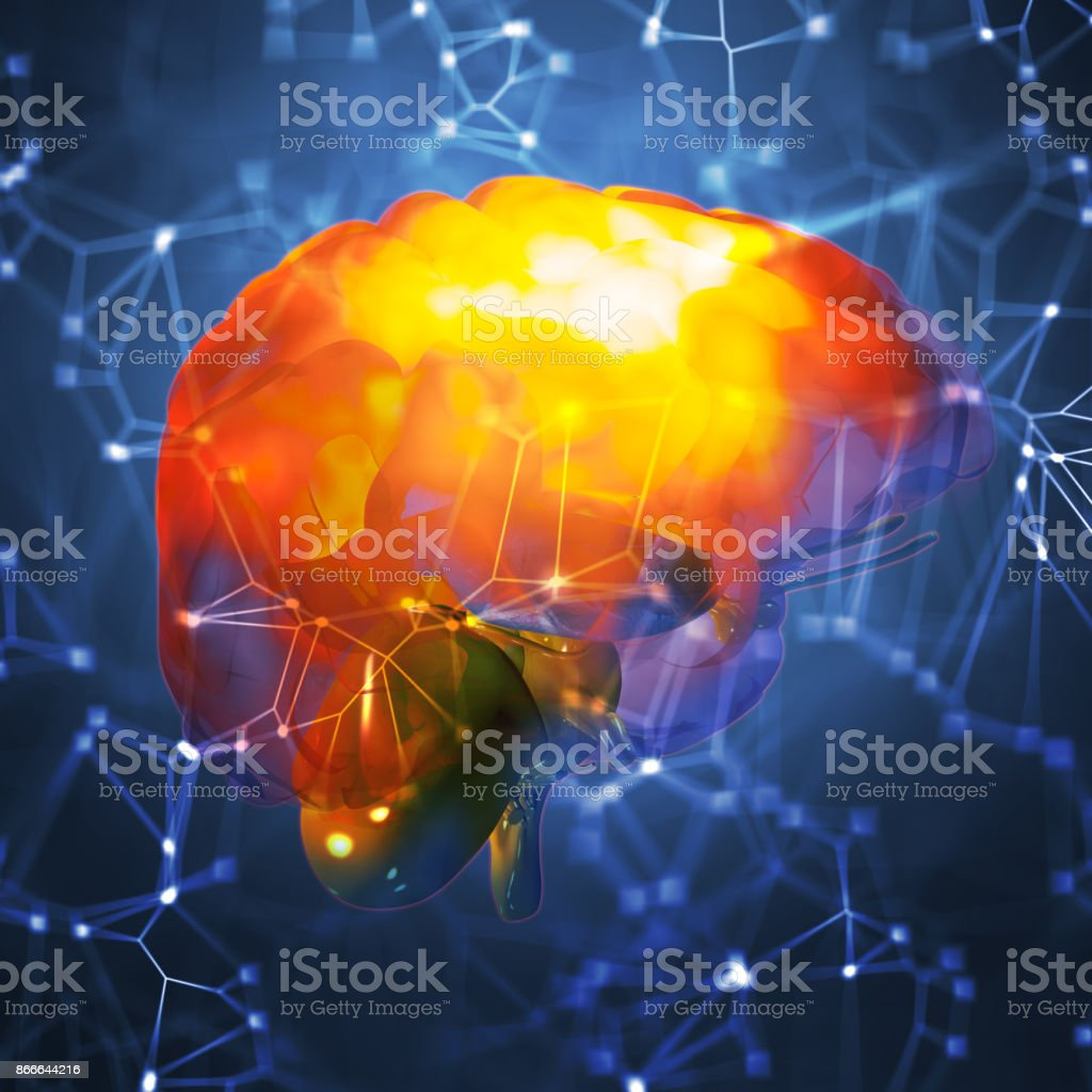 3d illustration of a human brain highlighted on low-poly abstract background stock photo