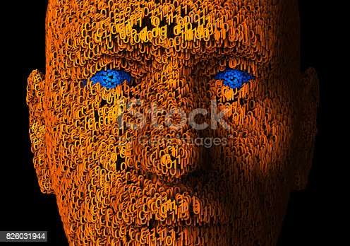 3d illustration of  a human face composed of zeroes and ones