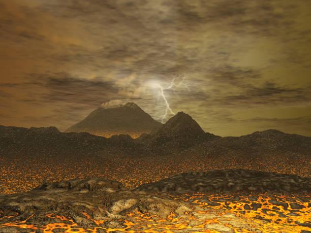 illustration 3d d'un paysage de vénus - venus photos et images de collection