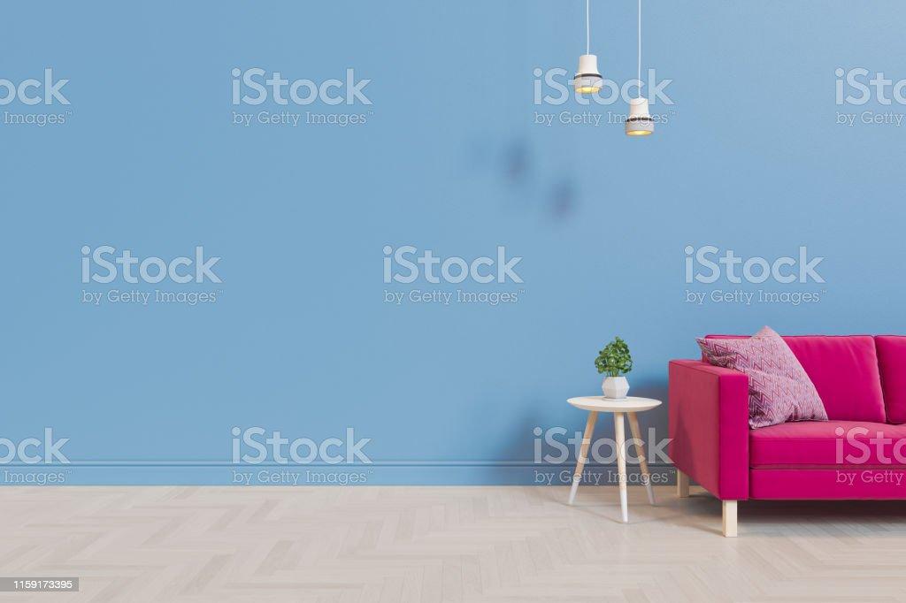 客廳的3D插圖,背景是空牆和木地板,配有織物地板。渲染類比 - 免版稅人工造的圖庫照片