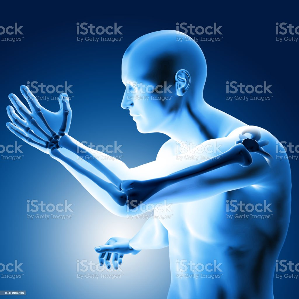 3d illustration of a medical figure with painful elbow stock photo