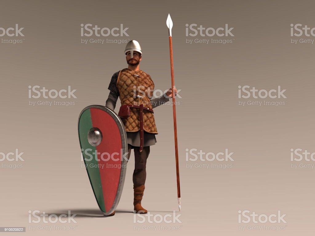 3D Abbildung eines mittelalterlichen Soldaten – Foto