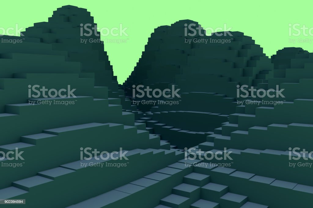 3d illustration of a mountainous landscape consisting of hundreds of cuboids stock photo