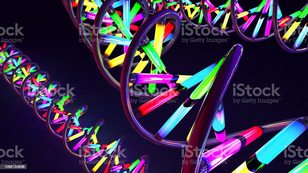 3d illustration of a multicolored neon light-like twisted DNA strand made of glass and metal stock photo