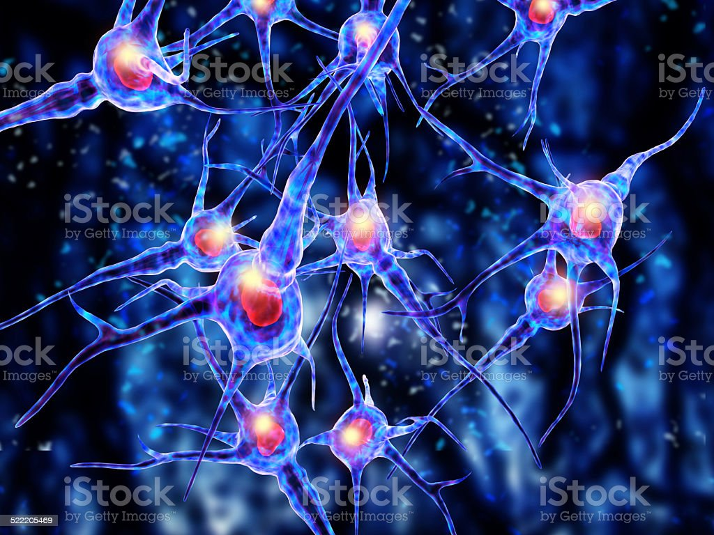 3d Illustration of a nerve cell stock photo