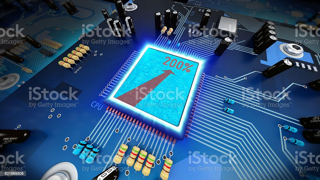 3d illustration of a overclocked computer processor on circuit b stock photo