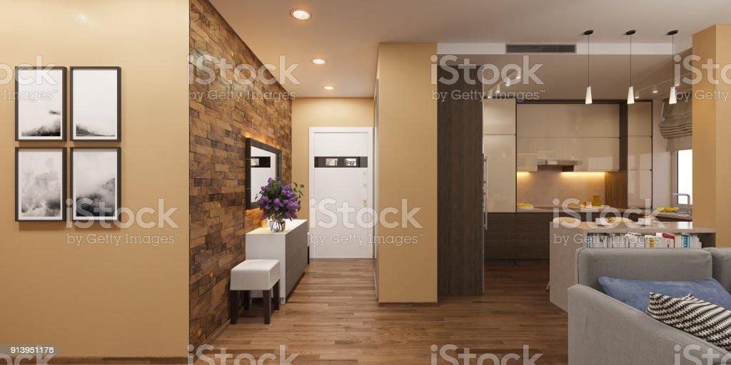 Fotografía de Ilustración 3d De Un Panorama Del Interior De La Sala ...