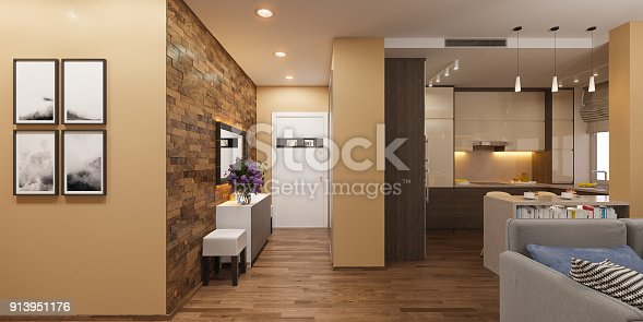 istock 3d illustration of a panorama of the interior of the living room, hall and kitchen. The interior design of the euro is a two room apartment in a Scandinavian style. 913951176