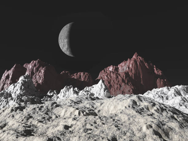 3d illustration of a Pluto landscape stock photo