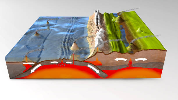 3d illustration of a scientific ground cross-section to explain subduction and plate tectonics - crosta geologia foto e immagini stock