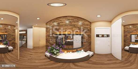 628979038istockphoto 3d illustration of a seamless 360 degrees panorama of the interior of the hall. The interior design of the euro is a two room apartment in a Scandinavian style. 913951174