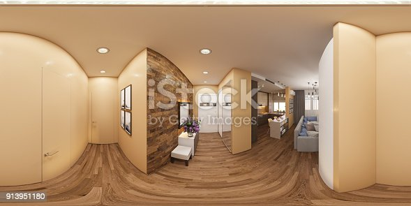 istock 3d illustration of a seamless 360 degrees panorama of the interior of the hall and living room. The interior design of the euro is a two room apartment in a Scandinavian style. 913951180