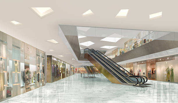 3d illustration of a shopping mall - shopping - fotografias e filmes do acervo